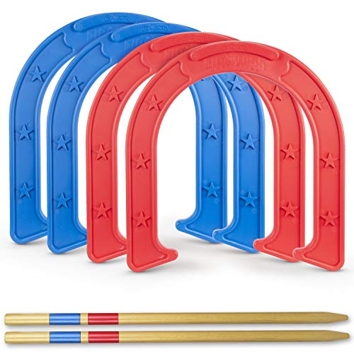 GoSports Giant Horseshoes Set | Made from Durable Plastic with Wooden Stakes ()