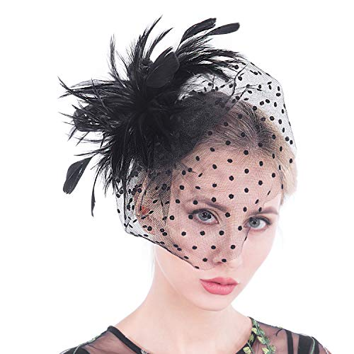 (Fascinators for Women, Lace Feather Mesh Vintage Sinamay Derby Fascinator Hats with Clip and Headband for Cocktail Wedding Tea Party (04-black) )