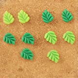 Joyci 10PCS 2 Color Green Leaves Map/Board Push Pins-9MM