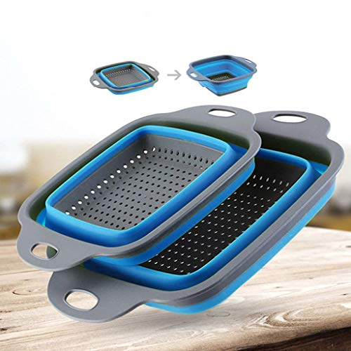 Square Collapsible Colander, ZYooh 2019 New Version Kitchen Tool Berry Basket Folding Strainer Vegetable/Fruit Colanders Strainers With Extendable Handles (Blue_3 pc, L: 11.4x8.66inch)
