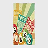 One Side Printing Hotel SPA Beach Pool Bath Hand Towel,Vintage Decor Bingo Game with Ball and Cards Pop Art Stylized Lottery Hobby Celebration Theme Multi,for Kids Teens and Adults
