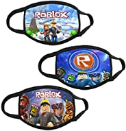 PPCCLPPO 3Pcs Ro-bl-ox Kids Face Covering Mask 3D Printed Mouth Bandana Shield Washable Neck Gaiter for Skiing