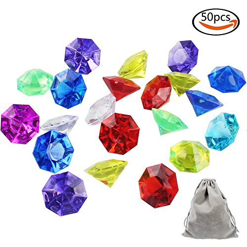 Outuxed 50PCS Acrylic Colorful Diamond, Round Treasure Gemstones, Loose Pack, for Event, Wedding, Vase Fillers, Crafts, Birthday Decoration, Assorted, with 1 Large Velvet Storage Pouch (Treasure Plastic)