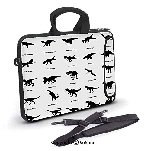 14 inch Laptop Case,Collection of Different Dinosaurs Silhouettes with Their Names Evolution Wildlife Neoprene Laptop Shoulder Bag Sleeve Case with Handle and Carrying & External Side Pocket,for Netbo -