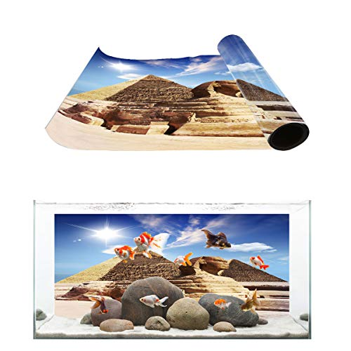(T&H Home Aquarium Décor Backgrounds - The Landscape of Pyramid and Sphinx Fish Tank Background Aquarium Sticker Wallpaper Decoration Picture PVC Adhesive Poster, 60.8