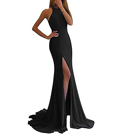 39543bd3420f Promworld Women's Off The Shoulder Mermaid Prom Dress Long Side Split Evening  Gown Black US2