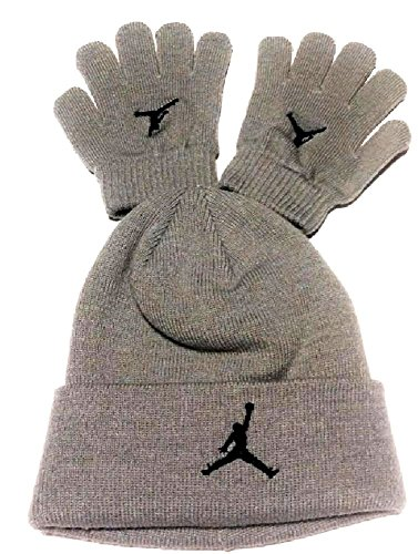 Nike Air Jordan Boys Winter Hat Beanie Cap Gloves Set Silver 8/20