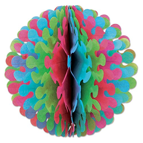 Club Pack of 12 Cerise, Light Green and Tturquoise Tissue Flutter Ball Hanging Decorations 14