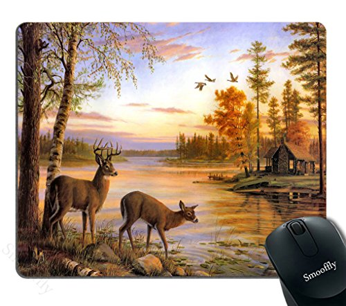 Smooffly Gaming Mouse Pad Custom,Two Deer Drink Water On The River When Sunset Personality Desings Gaming Mouse Pad