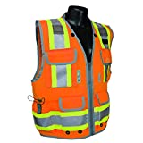 Radians SV55 Class 2 Heavy Woven Two Tone Engineer High Visibility Vest (XX-Large, Orange)