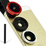 First2savvv JTST-0088-08F1 red universal 3in1 185 degrees Fisheye Lens + 0.45X Wide Angle + 10X Micro Lens Photo Kit for Samsung Galaxy Note Edge Note 4 3 2 S5 mini S5 S6 S6 edge ALPHA K zoom S4 S4 mini A3 A5 CORE Max with black stylus pen