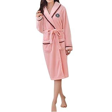 VJGOAL Mujer otoño e Invierno Moda Casual Bata de algodón camisón Ropa de Dormir Franela Pijamas