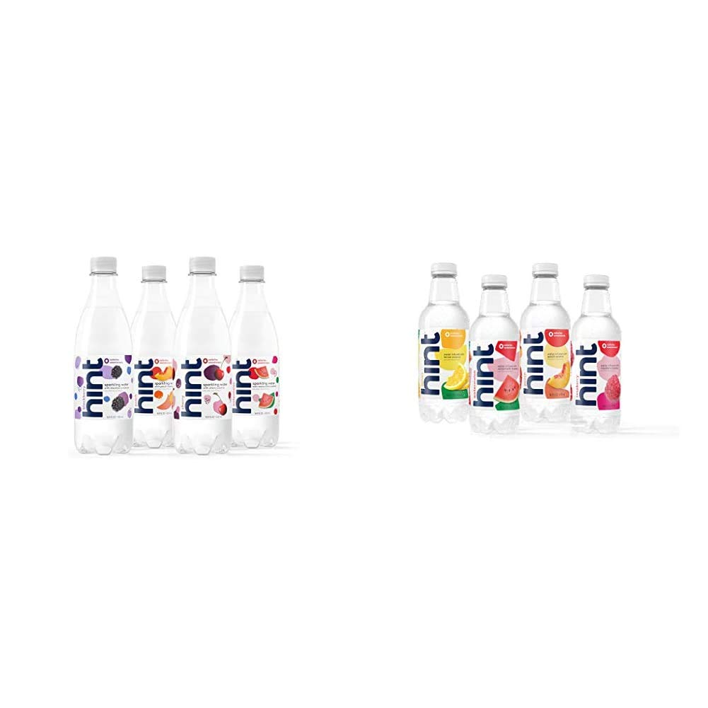 Hint Sparkling Water 4-Flavor Variety Pack (Pack of 12) 16.9 Oz Bottles & Water Fruit Stand Variety Pack, (Pack of 12) 16 Ounce Bottles, 3 Bottles Each of: Peach, Raspberry, Watermelon, and Lemon