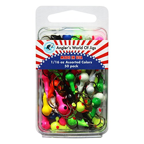 Angler's World of Jigs - Round Freshwater Fishing Jig Heads - Bright Assorted Colors - Two Tone Glow (1/16 oz Assorted Colors, 50 Pack)
