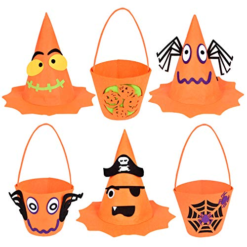 6PCs Halloween Party Favor for Kids Trick or Treat Bags and Hats, Goodie Bags, Halloween Candy Bags, Kids Halloween Costumes Spider Pirater Hats