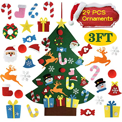 ALLADINBOX DIY Felt Christmas Tree Set with Ornaments for Kids, Xmas Gifts, Christmas Decorations, New Year Door Wall Hanging Decorations,3FT Height Tall (Christmas Felt Tree Fabric)
