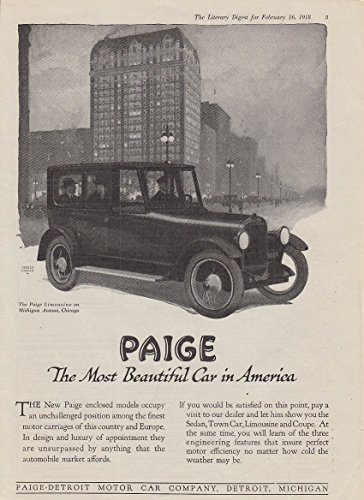 Enclosed models occupy an unchallenged position Paige Limousine ad 1918 - Paige Model