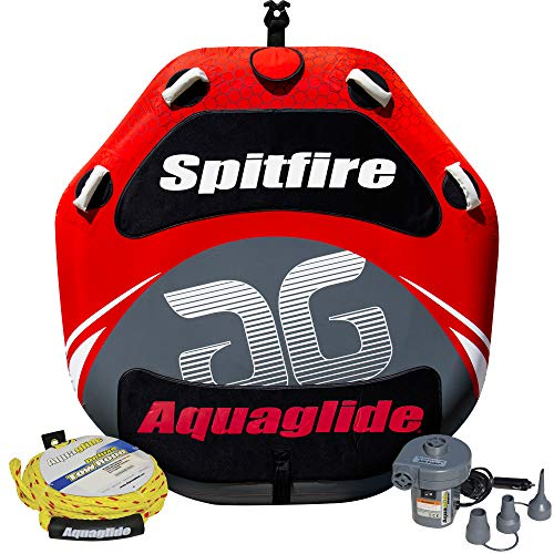 Towable Package - Aquaglide Spitfire 60 Two-Person Towable Tube Package with 12V Inflator and Tow Rope