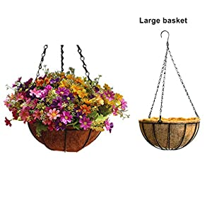 Mynse Daisy Flower Artificial Hanging Plant Home Balcony Indoor Outdoor Decor Fake Flower Hanging Basket with Chain Flowerpot 3