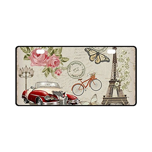 INTERESTPRINT Vintage Paris Postcard Eiffel Tower Rose and Bicycle Metal License Plate Tag Sign Decoration for Car Woman Man - 11.8