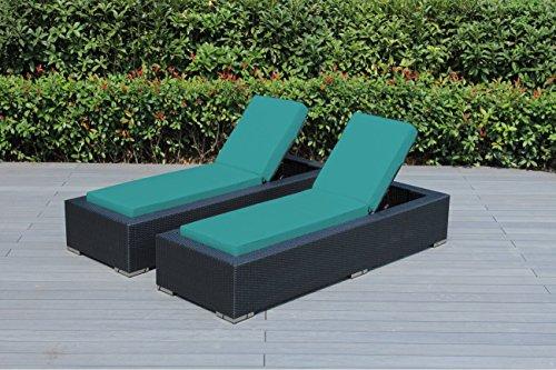 Ohana 2-Piece Outdoor Wicker Patio Furniture Chaise Lounge Set with Weather Resistant Cushions , Sunbrella Aruba (PN7023SAR) 2 Piece Set Chaise