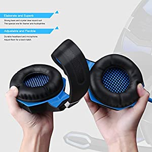 Stereo Bass Surround Gaming Headset, Homgrace Over Ear Gaming Headphones with Mic, Noise Reduction, LED Lights and Volume Control for Laptop, PC, Mac, iPad, Smartphones Blue