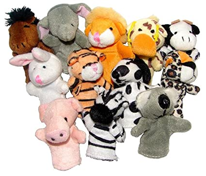 amazon com 12 pc animal finger puppets toys games