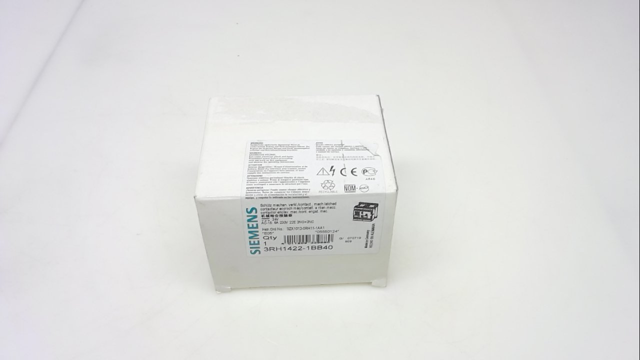 Screw Connection 2 NO 2 NC Contacts Size S00 22 E Identification Number Siemens 3RH14 22-1BB40 Control Relay 24VDC Rated Control Supply Voltage 3RH14221BB40 35mm Standard Mounting Rail DC Operation