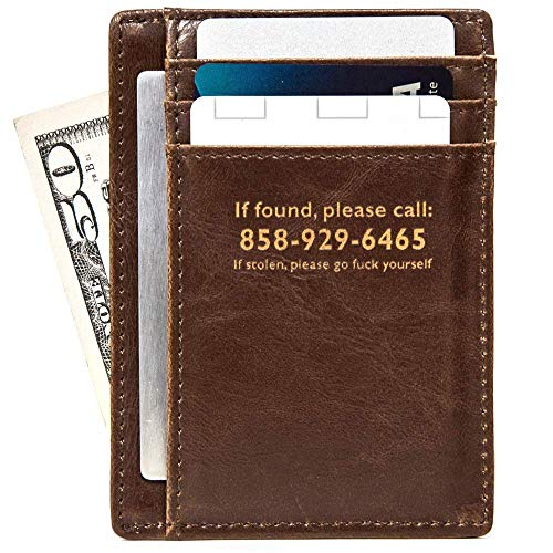 Swanky Badger Men's Slim Front Pocket Wallet, Leather Minimalist Thin Smart Cardholder Design, Brown, F Number