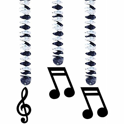 Dangling Cut Out Decorations (Amscan Nifty 50's Theme Party Music Notes Dangling Cutout Decoration (3 Piece), Silver/Black, 9 x 7.5