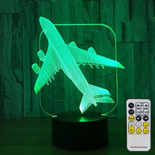 ts for Kids with Remote Controller LED Touch 7 Colors Changing Toy Plane Desk Lamp ()