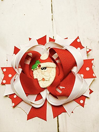 b928fdca23083 Image Unavailable. Image not available for. Color  Santa bow - red and  white bow - Christmas hair ...