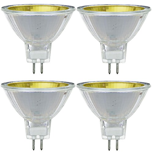 Pack Of 4 MR16/50/NSP/12V/Y 50 Watt Halogen MR16 GU5.3 Based Mini Reflector Yellow Colored Light Bulb