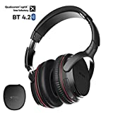 TROND Bluetooth V4.2 Headphones Over Ear, Wireless Headset with Mic (Not 2.4GHz RF), AptX Low Latency for TV Watching, LED Codec Indicators, 30hr Long Battery Life, Travel Case Included
