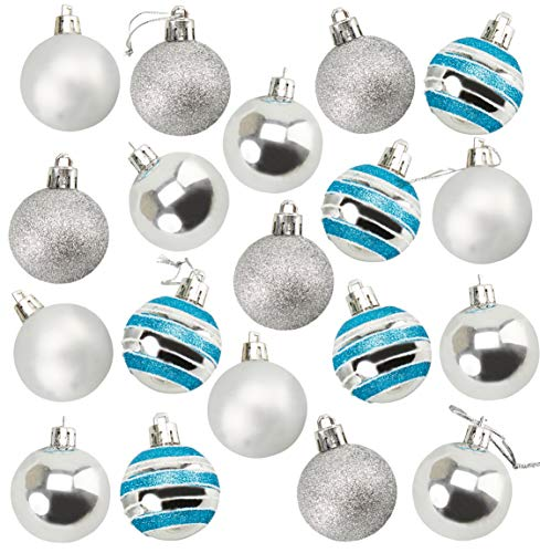 48-Pack Mini Christmas Tree Ornaments - Silver Shatterproof Small Christmas Balls Decoration, Assorted 4-Finish Shiny, Matte, Glitter, Glitter Stripes, Hanging Plastic Bauble Holiday Decor, 1.5 Inches