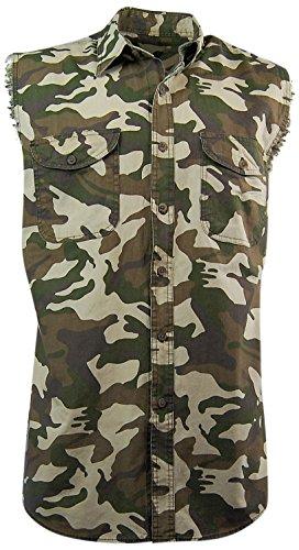 Canyon Guide Men's Sleeveless Camo Biker Shirt; Button Down Front (X-Large)