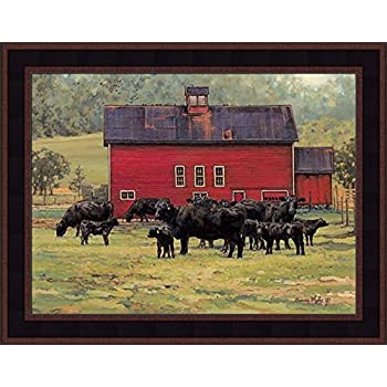 16 x 12 Bonnie Mohr Autumn/'s Gold Cow and Farm Country Art Print