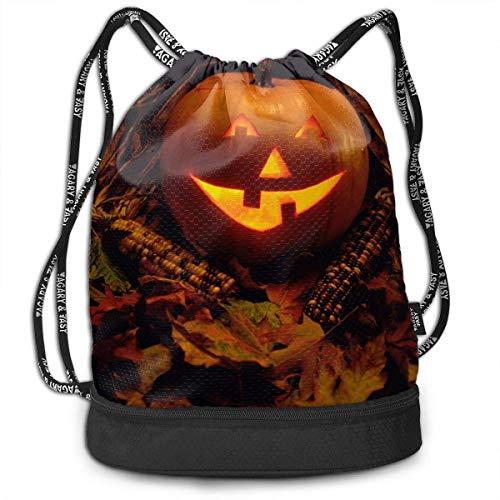 Makayla Riley Halloween Pumpkin Print Lightweight Drawstring Bags Gym Eco-Friendly Luggage Drawstring Backpack Shoulder Bags -