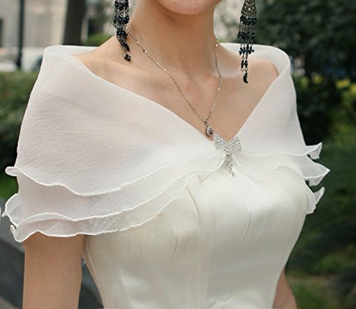 Skyvan Three Layers Voile Ruffled Bridal Wrap with Flower Wedding Shawl Stole Rhinestone With bowknot-White (Ruffled Voile)