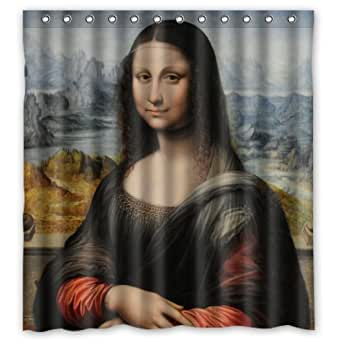 66 w x 72 l custom mona lisa by leonardo for Mona lisa shower curtain