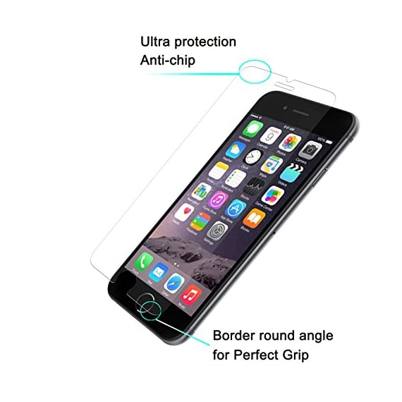 Luvvitt Tempered Glass Screen Protector for Apple iPhone 7 (2016) and iPhone 8 (2017) - Crystal Clear 3 iPHONE 7 TEMPERED GLASS SCREEN PROTECTOR: Compatible with iPhone 7. Doesn't interfere with the fingerprint home button. PREMIUM GRADE: Japanese Asahi Tempered glass with 9H+ scratch resistant surface (almost as hard as a diamond with highest resistance at 10H) ULTRA CLEAR: Shock-resistant layer under the glass. High touch sensitity.