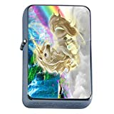 Unicorns Mythical Creature Flip Top Oil Lighter S9 Smoking Cigarette Smoker Includes Silver Case
