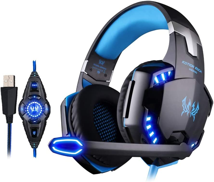 Color : Black Blue HUOGUOYIN Computer Headset 7.1 Surround Sound Vibration Game Gaming Headphone Computer Headset Earphone Headband with Microphone LED Gaming Headset