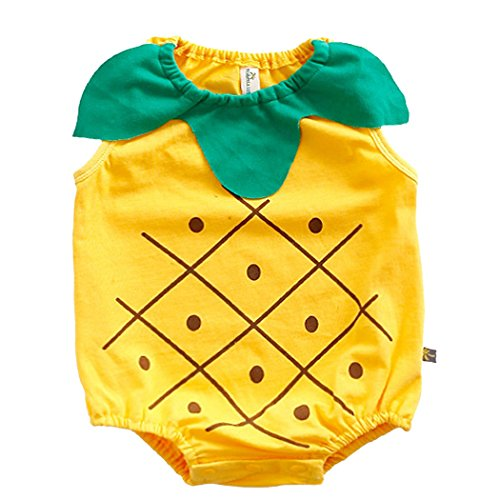 Fairy Baby Newborn Sleeveless Bodysuit Photography Prop Outfits,3-6M,Yellow Pineapple]()