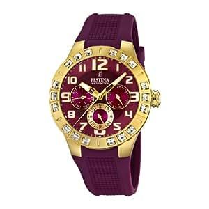Festina Trend Golden Dream Multifunktion F16581/2 - Reloj cronógrafo de cuarzo para mujer, correa de plástico color morado