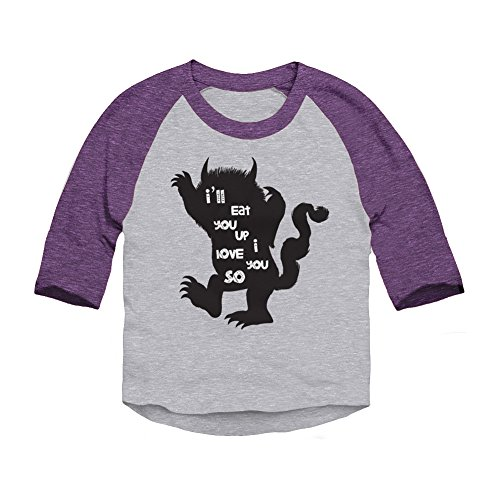Trunk Candy Toddlers I'll Eat You Up I Love You So 3/4 Sleeve Raglan T-shirt (Heather / Purple, 4T)