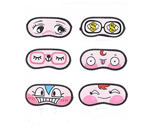 Flyusa 6 PCS Cute Cartoon Funny Face Sleeping Eye-Shade Blin