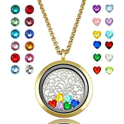 YOUFENG Floating Living Memory Locket Pendant Necklace Family Tree of Life Birthstone Necklaces (Gold Polished Locket)