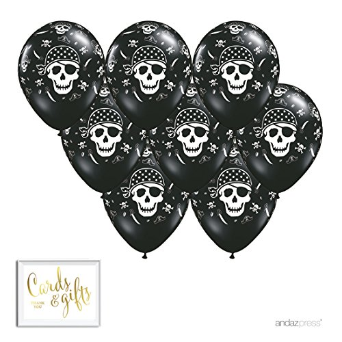 (Andaz Press Printed Latex Balloon Party Kit with Gold Cards & Gifts Sign, Pirate, 8-Pk)