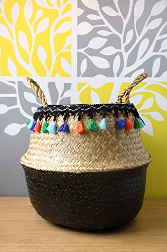 GRAS Modern hand-woven dipped black sea grass belly basket with tassels/ laundry picnic storage basket/ Wholesales bulk -
